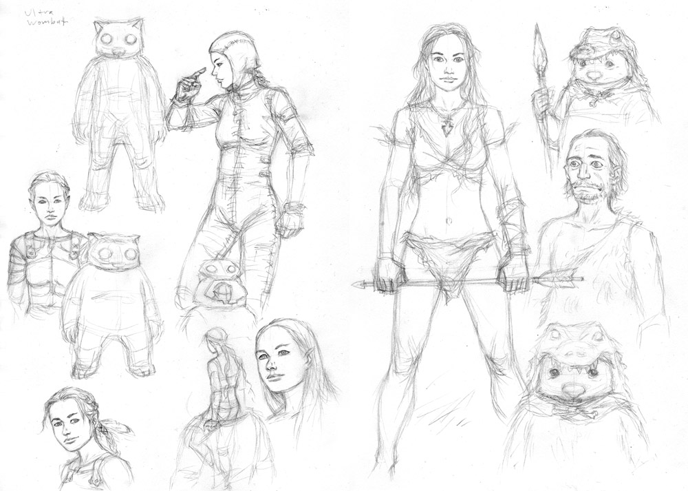 Wombatsuit & Stoneage sketches