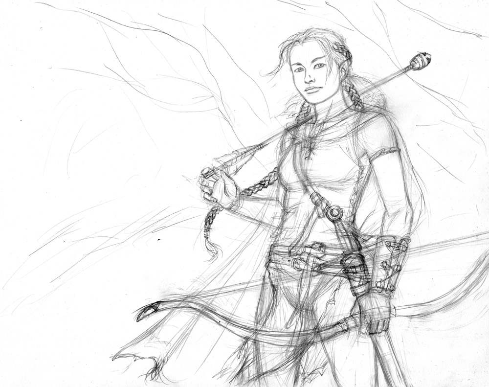 Elf with Whistling Arrow sketch