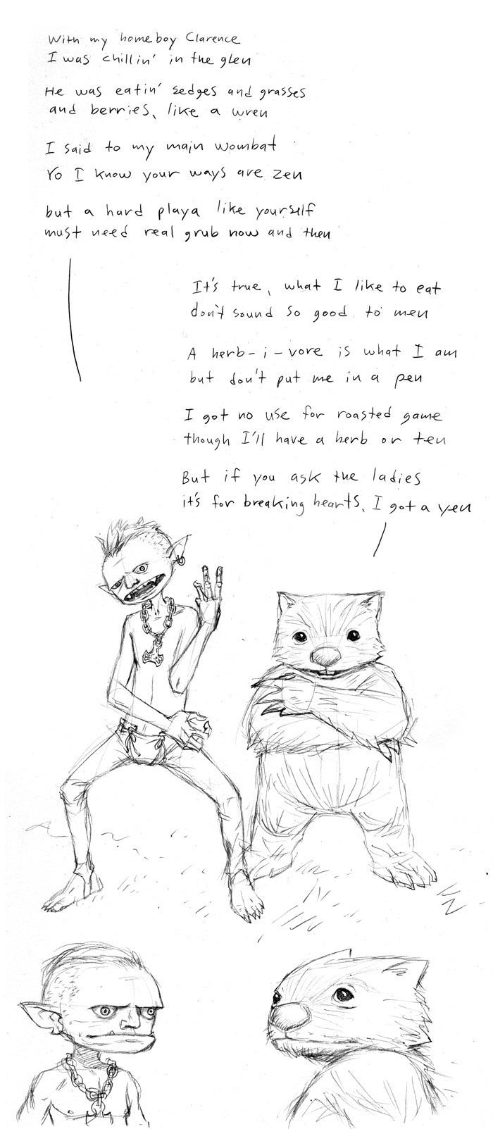 Goblin & Wombat Sketches Part 2