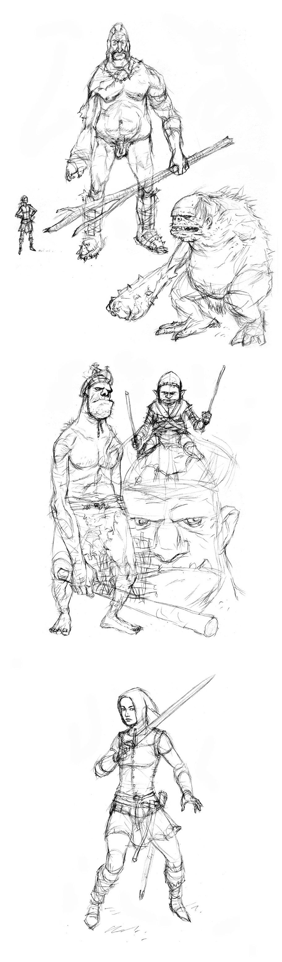 Giants & Elf Sketches
